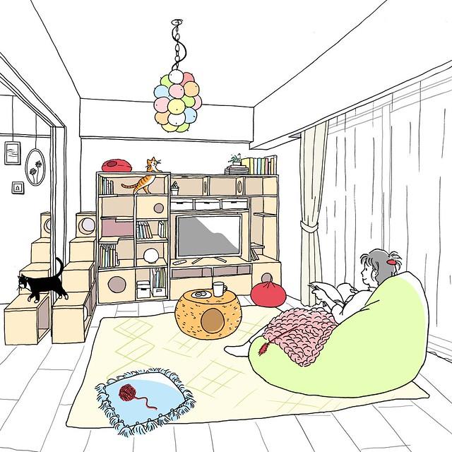 猫と過ごす癒やしの空間 (阪急阪神不動産 ジオ阪急水無瀬ハートスクエア 「理想の一邸」)