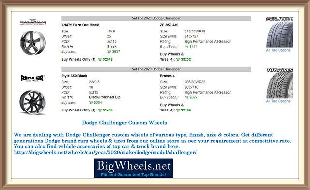 Dodge Challenger Custom Wheels Tires - Bigwheels.net