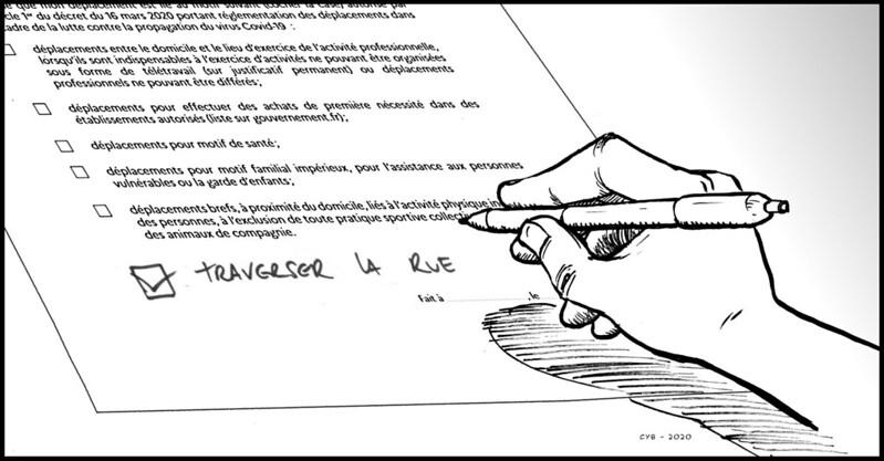 [30 Avril 2020] - Un jour, un dessin... La nouvelle attestation de déplacement