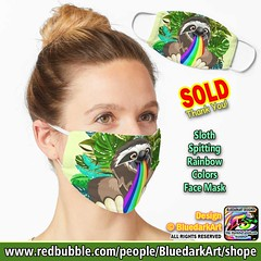 SOLD! Thank You! :herb: #Sloth #Spitting #Rainbow #Colors #Face #Mask :herb: #Design :copyright: #BluedarkArt #TheChameleonart