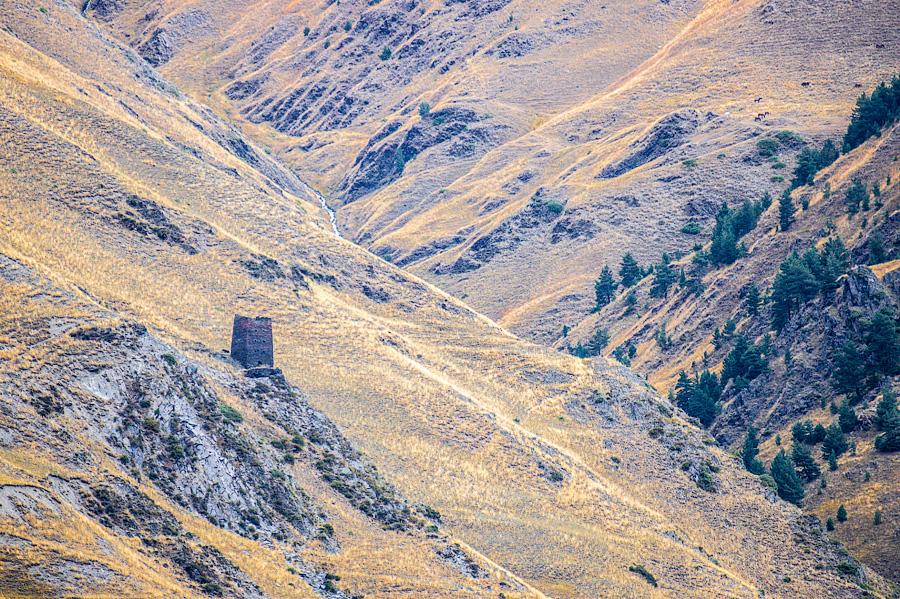 Башни по берегам реки Алазани. Дорога к Дартло