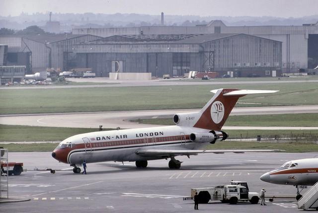 G-BAEF Dan Air Boeing 727-46 seen on push-back at London Gatwick