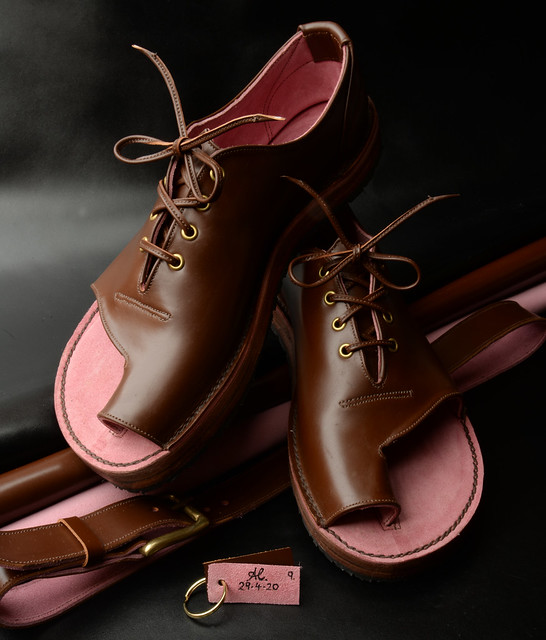 Lace-up Shandals in Chestnut brown Italian leather fully lined in Bubble Gum Pink suede with double 5-6mm leather soles and with matching belt. Signed & dated AL29.4.20.