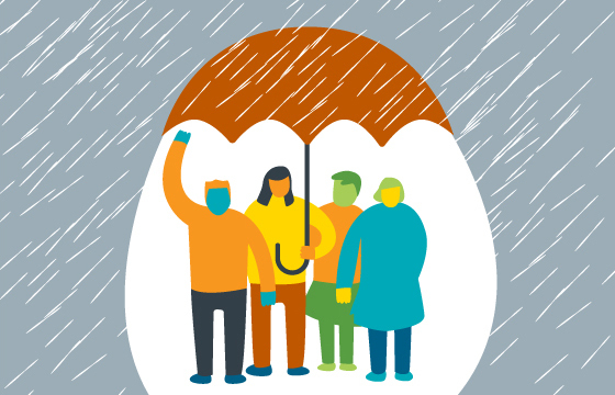 Friends staying dry under an umbrella in the rain (illustration)