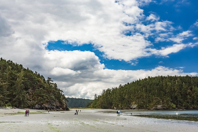 Visitors on Beach in Deception Pass State Park