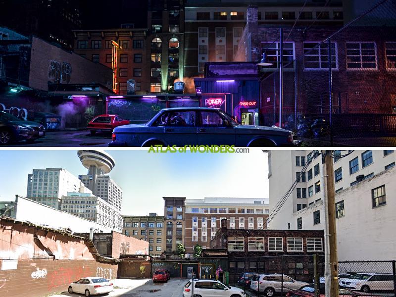 Neon lights eatery street scene