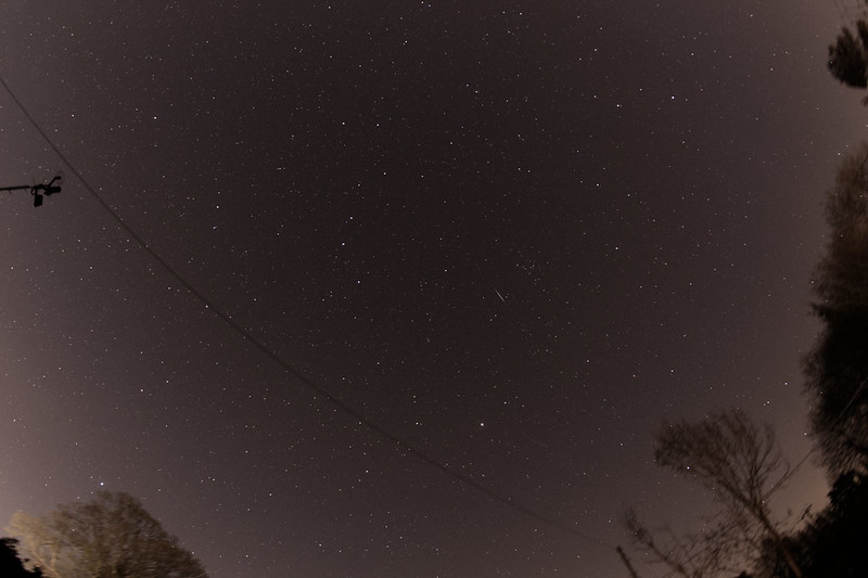 Meteor in Coma Berenices during the Lyrids shower, taken 2020-04-22 at 22:07:19 UT