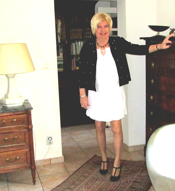 White dress and  black jacket  for a new day of lockdown