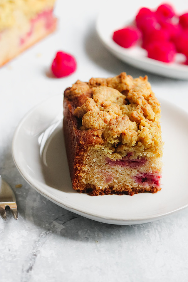 Pistachio and Raspberry Crumb Cake