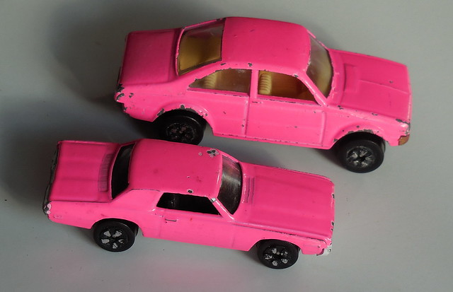 Playworn Playart dayglo pink cars - very rare colour produced circa 1980 in very limited numbers