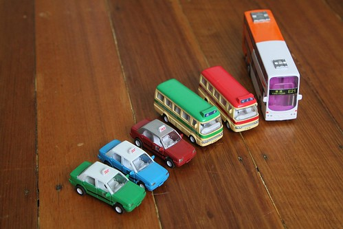 Pull back action toy vehicles by 'Sun Hing Toys'- Hong Kong double decker bus, public light buses and taxis