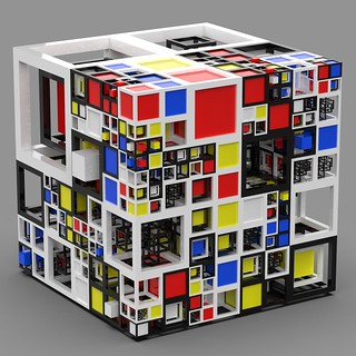 Discombobulated Mondrian cube