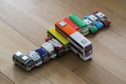My son's collection of Hong Kong pull back action toy vehicles