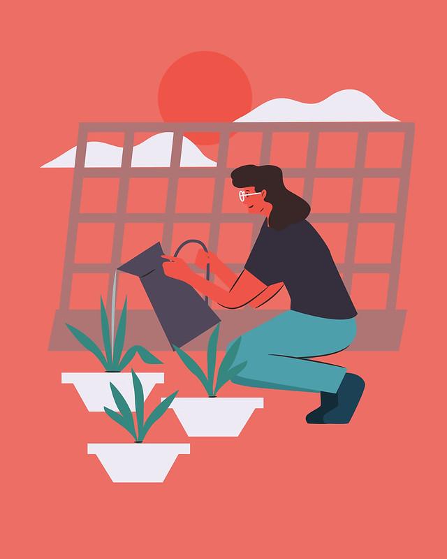 red maleta quarantine personality_home gardener