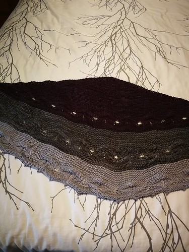 Libby finished her Odyssey Shawl by Joji Locatelli for the Malabrigo KAL right on schedule!