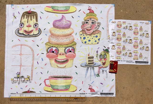 """""""Pastel cafe quirky anthropomorphic pastries"""", large scale version fat quarter and 8x8 inch fabric test swatch of small scale version. Original design hand drawn by me with pastel pencils."""