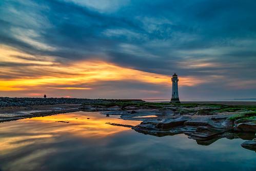 merseyside england unitedkingdom lighthouse reflection newbrighton sunset