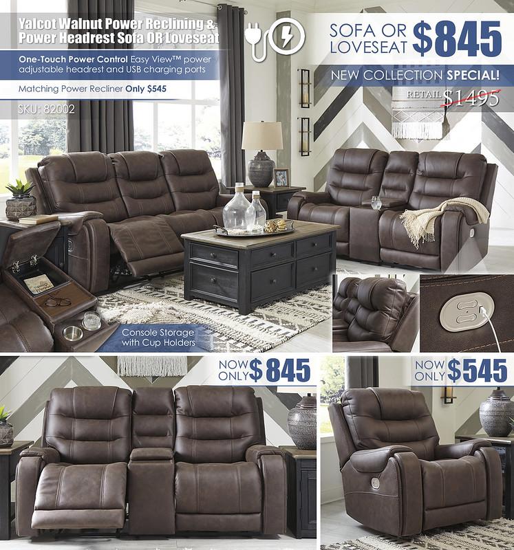 Yalcot Walnut Power Reclining Sofa & Loveseat Layout_82002