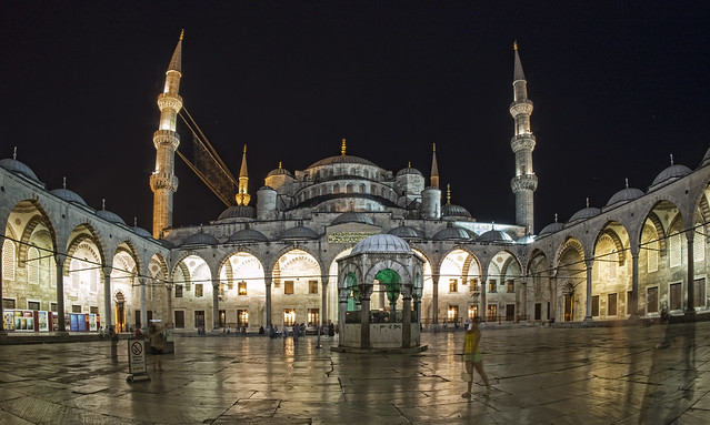 Courtyard of the Blue Mosque in Istanbul
