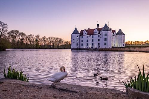 glücksburg schleswigholstein deutschland sunset sonnenuntergang schloss wahrzeichen architektur historisch geschichte see schwan fuji xt3 fujinon1024