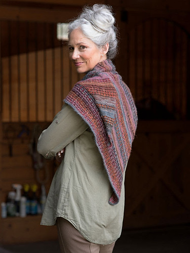 Alison Green's Broderie Shawl is knit using 3 balls of Millefori Light.