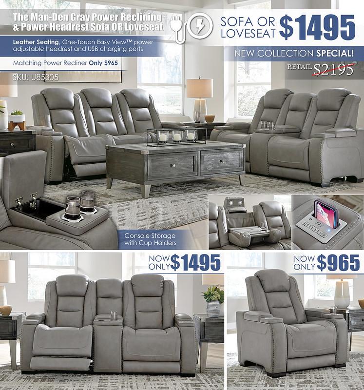The Man-Den Power Reclining Sofa & Loveseat Layout_U85305