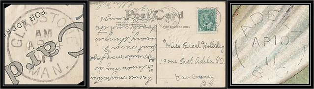 British Columbia / B.C. Postal History - 4 / 10 April 1911 - Gladstone, Manitoba to ADELA, B.C. (split ring / broken circle cancel / postmark)
