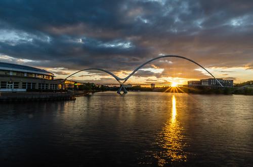 sunset tees stockton river bridge reflection dusk