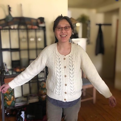 The other sweater my sister Mary knit is Mariechen by Isabell Kraemer using Kelbourne Woolens Scout