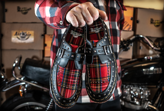 Dr Martens Ramsey Monk, black and red Stewart. . .