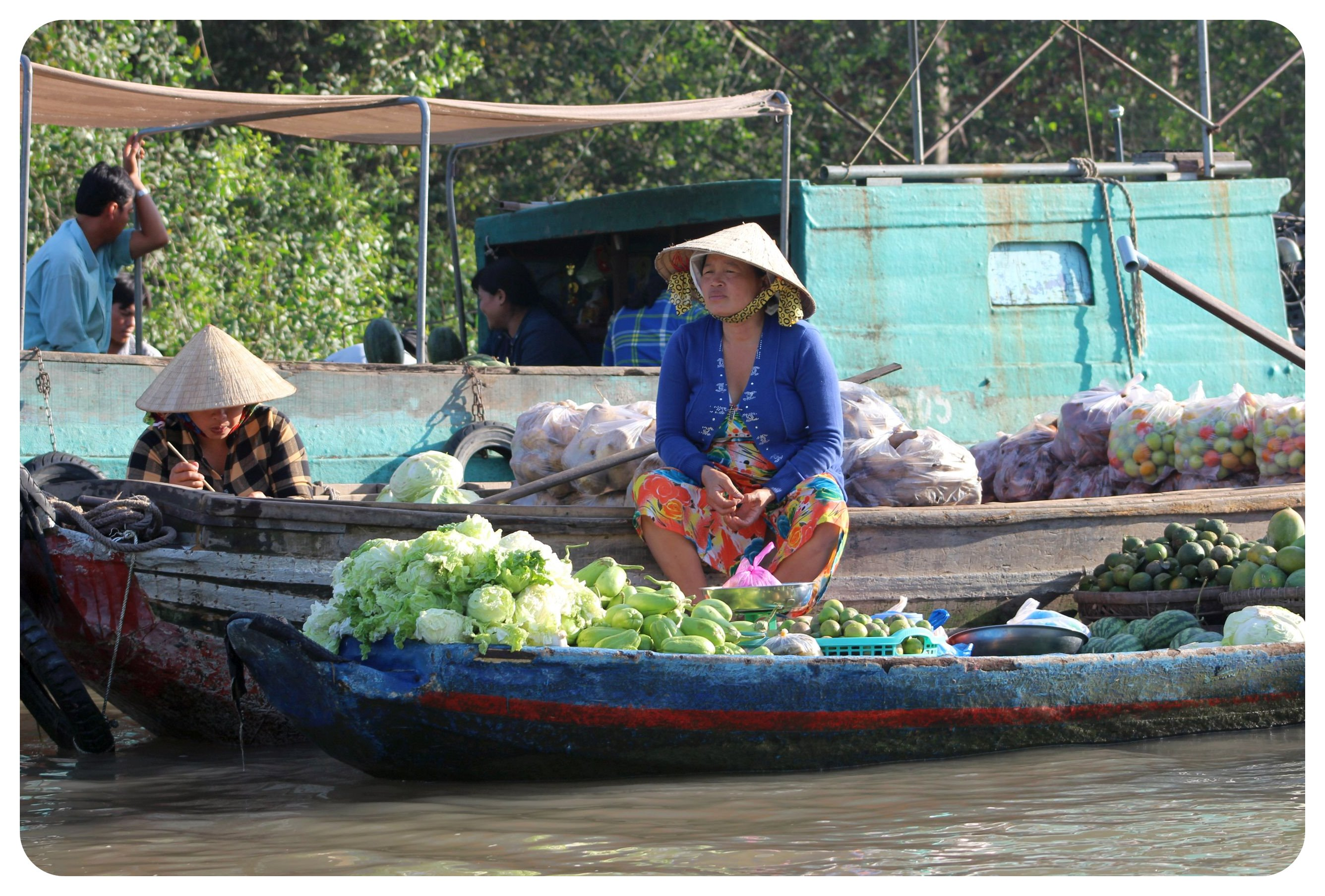 mekong delta floating vegetable vendor
