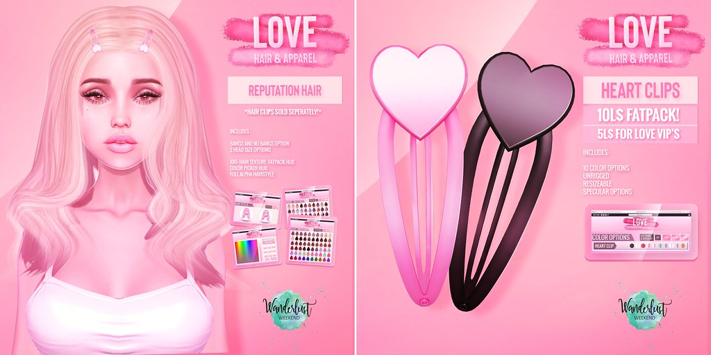Love [Reputation Hair & Heart Hair Clips] – Wanderlust Weekend Discounts