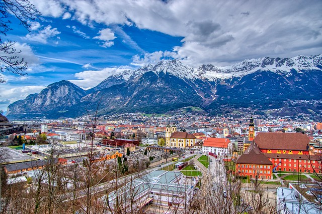 View over Innsbruck with the Alps in Tyrol, Austria