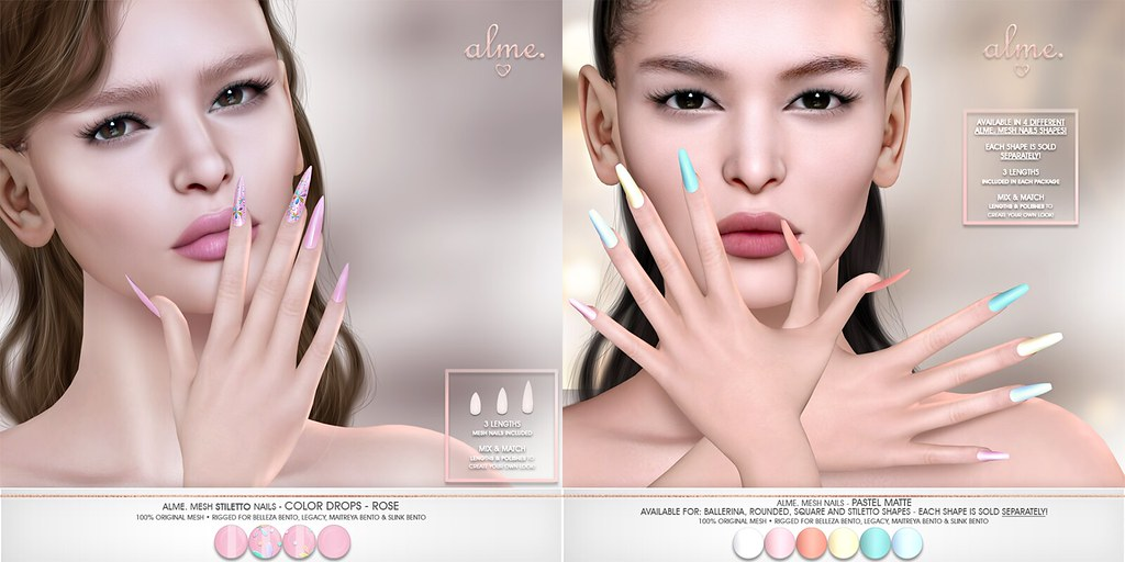 "Alme. in Second Life for The Saturday Sale  ""Alme Mesh Nails// Color Drops-Rose in stiletto & Pastel Matte in 4 shapes!"