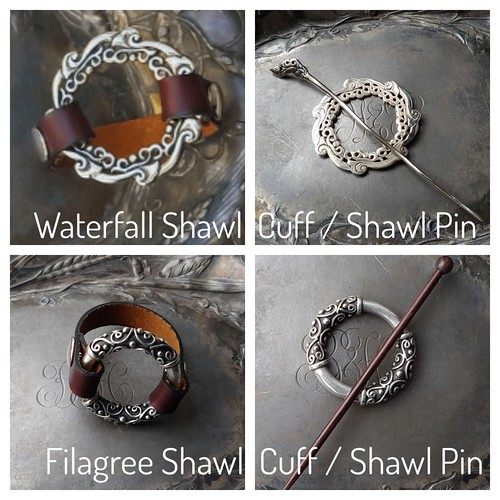 New in from Jul Designs! The light-weight leather strap is fixed to the ring on each side with a snap, making the strap removable so that the ring may then be worn with the included stick as a conventional shawl pin on both of these!