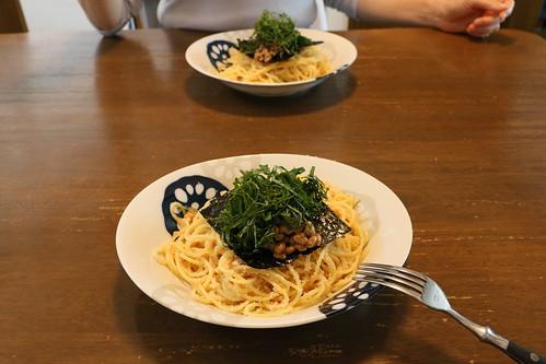 明太子納豆スパゲティ
