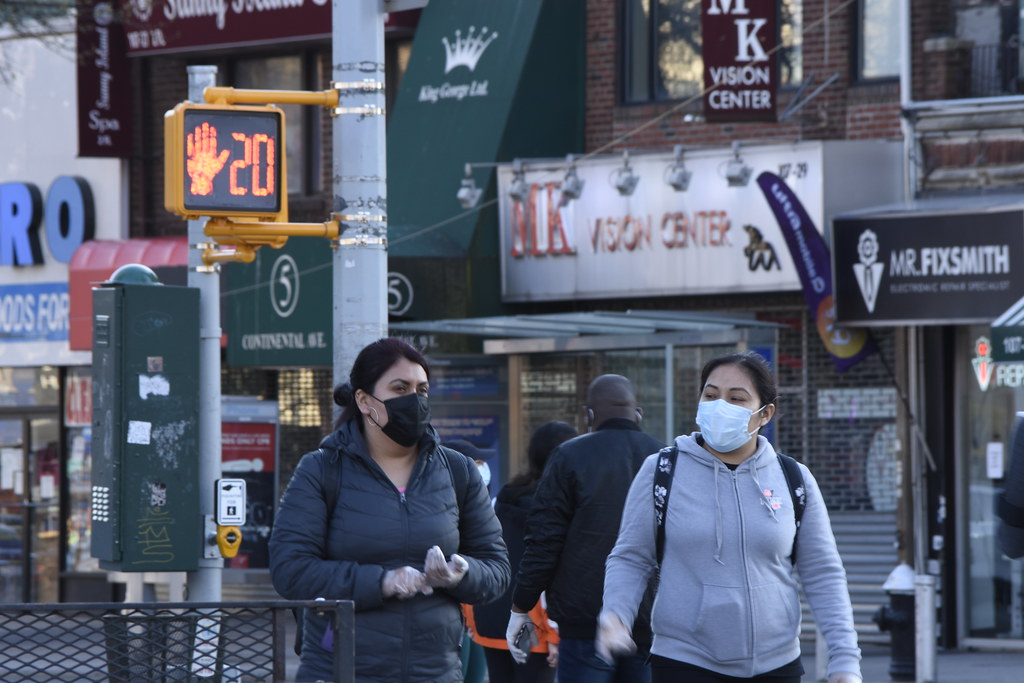 Family Members Walking In Queens NYC w Covid Masks