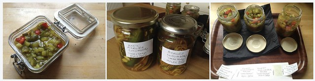 Triptych: Sweet Cucumber Relish plus Spicy Pickled Cucumbers
