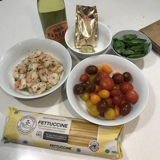 Garlic Prawns with Basil, Tomato and Moscato Tomato Sauce Fettuccine