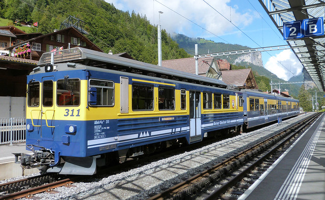 Berner Oberland Bahn, Switzerland - ABeh4/4 II No. 311 at Lauterbrunnen with the 12.02 to Interlaken Ost on the 9th September 2019