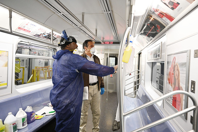 Governor Cuomo Tours NYC Subway Cars Being Disinfected for COVID-19
