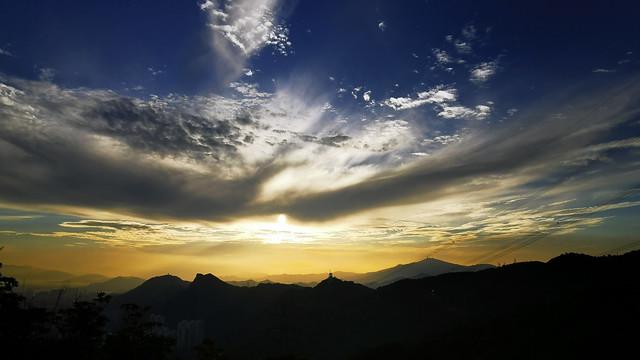 Cloudy sunset sky
