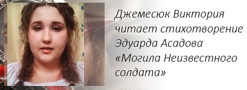 Джемесюк Виктория читает стихотворение Эдуарда Асадова «Могила Неизвестного солдата»