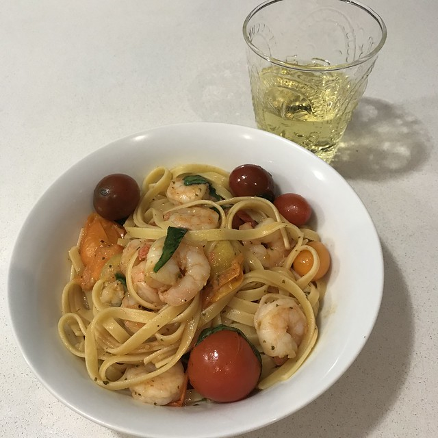 Garlic Prawns with Basil, Tomato and Moscato Tomato Sauce Fettuccine