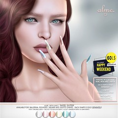 """Alme. in Second Life for 60L$ Happy Weekend sale May 2nd - 3rd """"Alme Mesh Nails// Pastel Glitter"""" in 4 shapes"""
