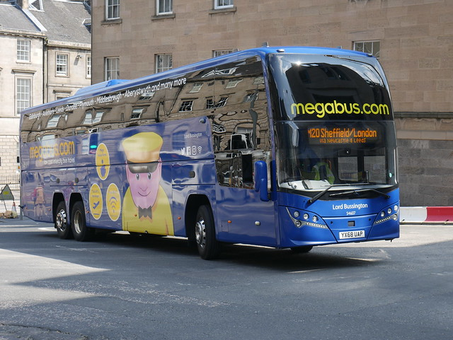 Stagecoach Midlands Volvo B11RT Plaxton Elite i YX68UAP 54607, in Megabus livery, named Lord Bussington, operating service M20 to London at Elder Street prior to entering Edinburgh Bus Station on 18 July 2019.