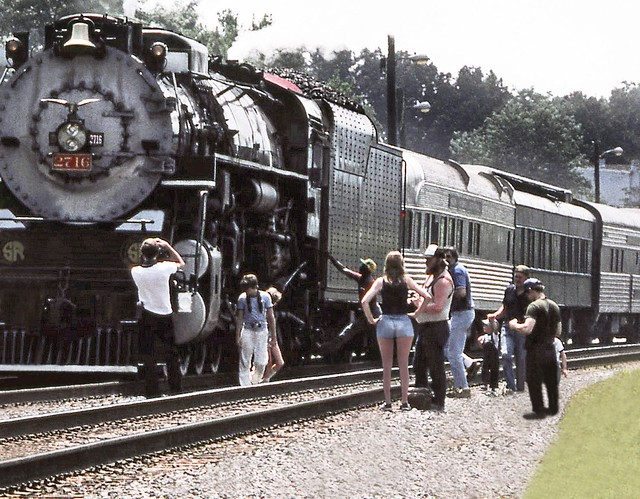 Southern Railway operated former Chesapeake & Ohio K-4 class ALCO coal burning 2-8-4 Berkshire steam locomotive # 2716 is preparing to depart from Charlottesville with its Railfan Excursion Train on the return trip to Alexandria, Virginia, 8-1982