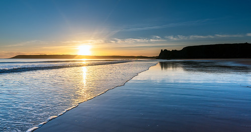 landscape seascape shore water blue sunset sea tranquility reflections sun