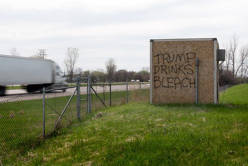 Trump Drinks Bleach graffiti in Minnesota.