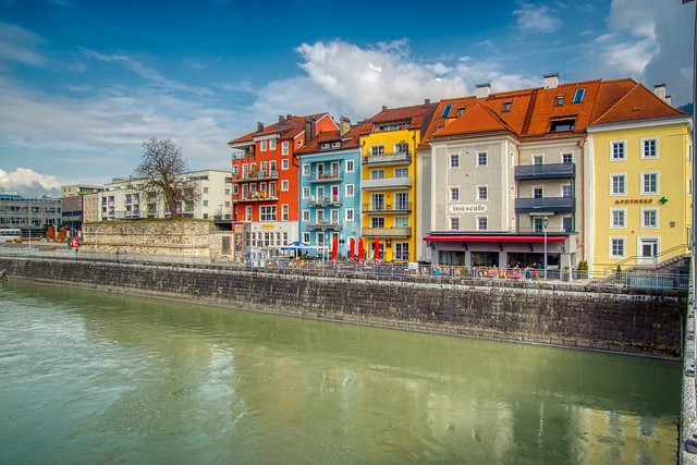 Houses by the river Inn in Kufstein, Tyrol, Austria